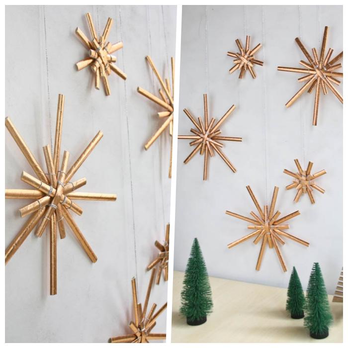 was kann man basteln, diy ideen zum weihanchten, goldene sterne aus papierhalmen