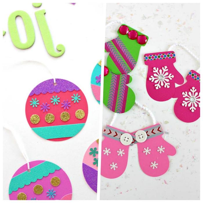 was kann man basteln, weihnachtsschmuck aus bastelkarton, handschuhe mit schneeflocken