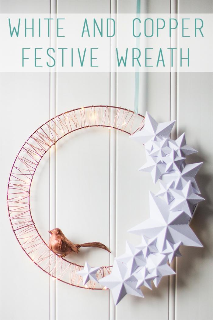 was kann man basteln zum weihanchten, kranz selber machen, weihnachtskranz mit s3d ternen aus papier