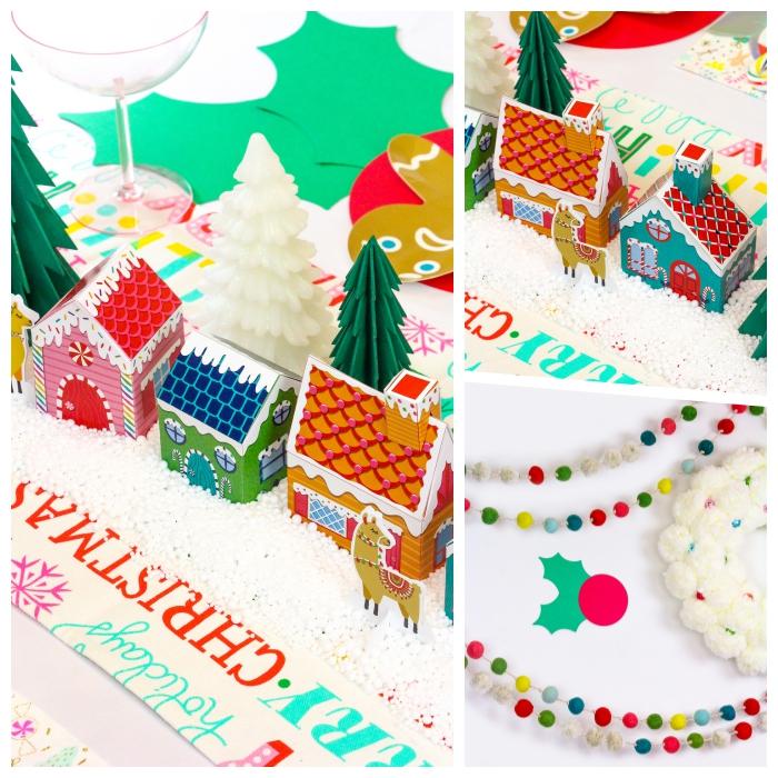 was kann man basteln zum weihnachten, kleine häuschen aus papier, partydeko ideen, weihanchtsdeko