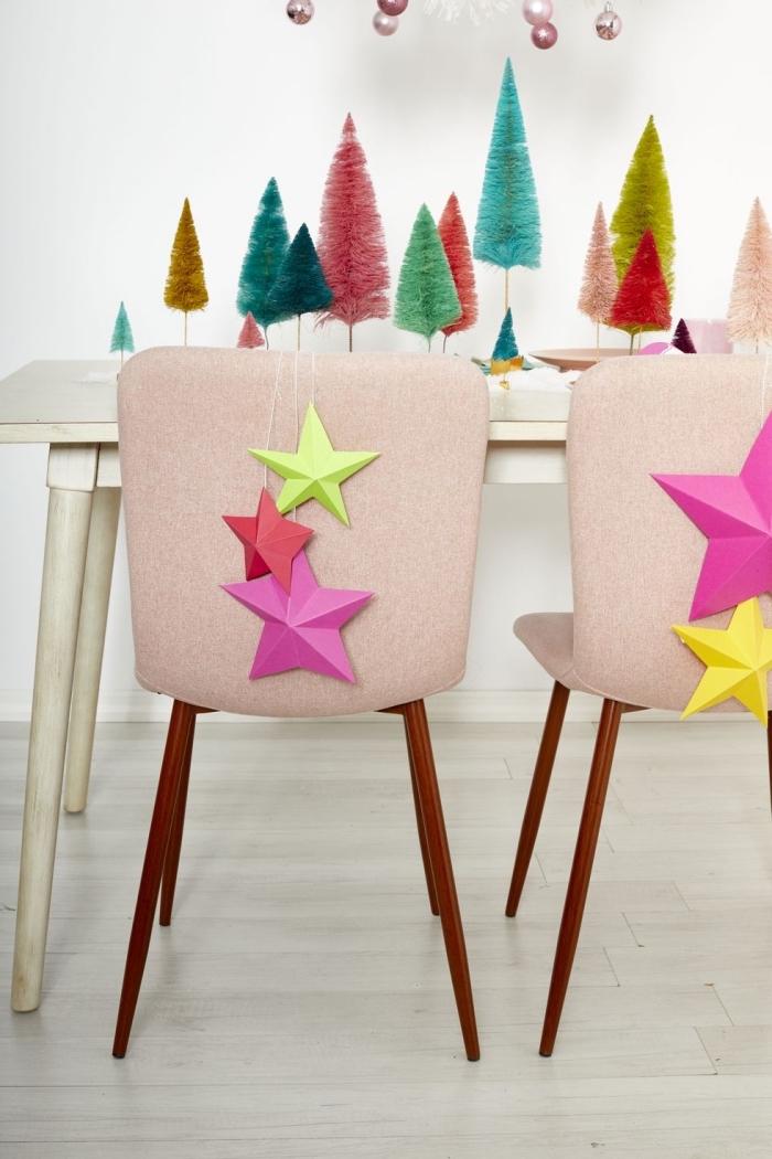 tischdeko ideen, partydeko selber machen, was kann man basteln zum weihnachten, bunte weihnachtsbäume