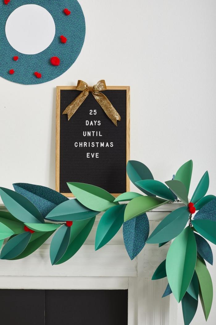 weihnachtsbasteln mit papier, diy ideen zum weihnachten, diy girlande aus grünem bastelpapier, kamindeko
