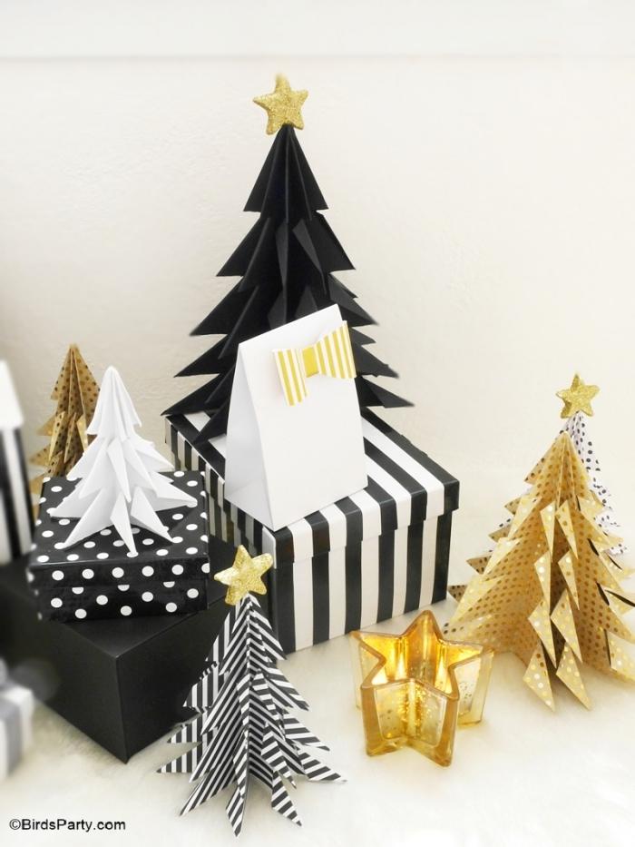 tischdeko ideen, weihnachtsbasteln mit papier, weihnachtsdeko ideen, weihnachtsdeko in schwarz und gold