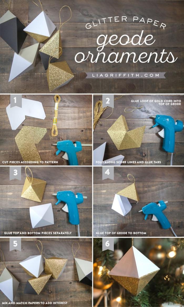 weihnachtsbasteln mit papier, weihanchtsbaumshcmuck selber machen, schritt für schritt anleitung