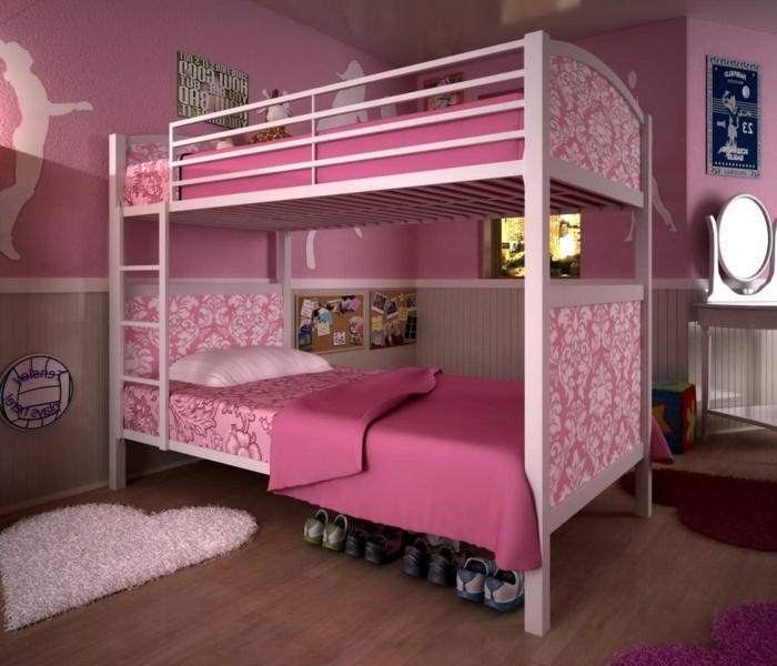 wunderschönes-mädchenzimmer-wandfarben-vorschläge-bett-auf-zwei-etagen