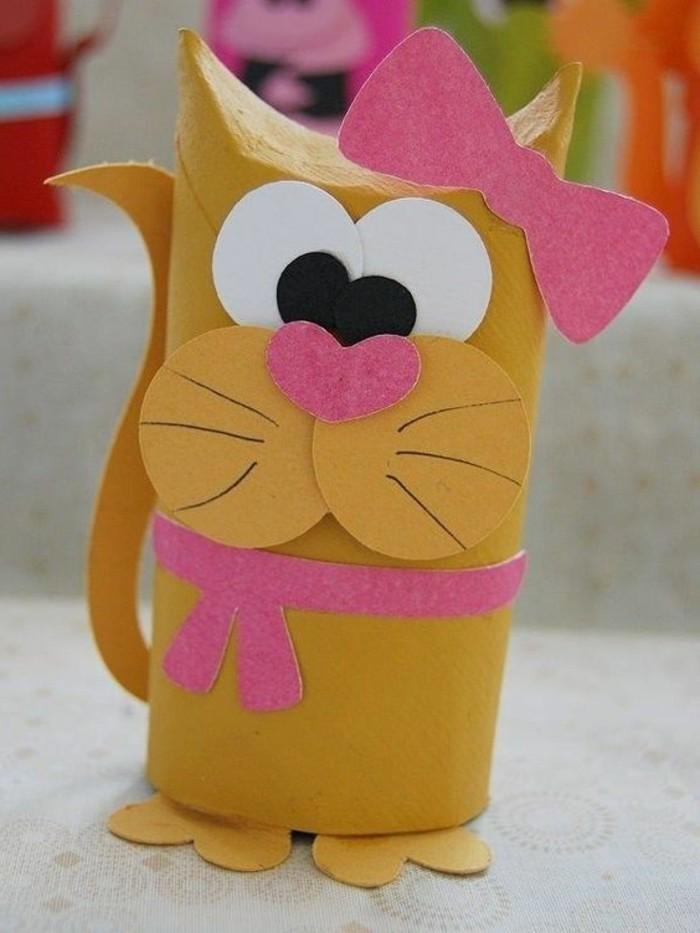 Basteln-mit-Klopapierrollen-süße-Katze