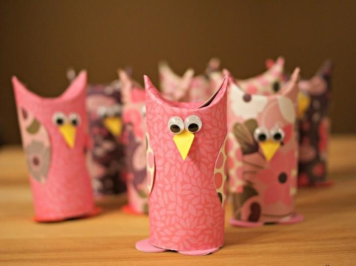 Bastelvorlage-Eule-in-rosa-Farbe