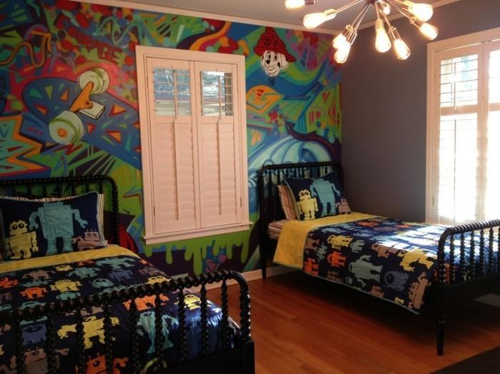 40 coole dekoideen mit graffiti im zimmer. Black Bedroom Furniture Sets. Home Design Ideas