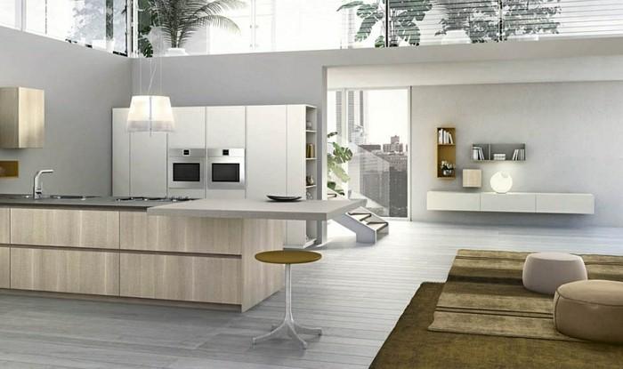 Design von Küche in weißer Farben mit weißen Hochstühlen, nur die ...