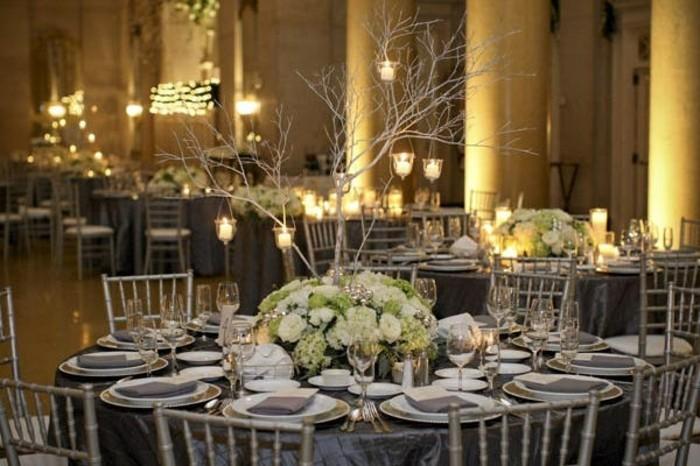 Silberhochzeit-Tischdekoration-Bäumchen-mit-Kerzen
