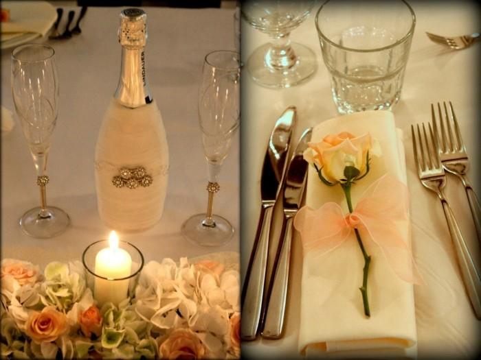 Silberhochzeit-Tischdekoration-in-oranger-Farbe