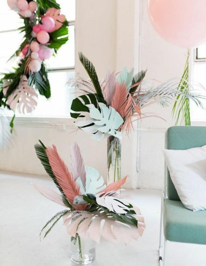 Sommer-Dekoration-basteln-Blätter-aus-Papier