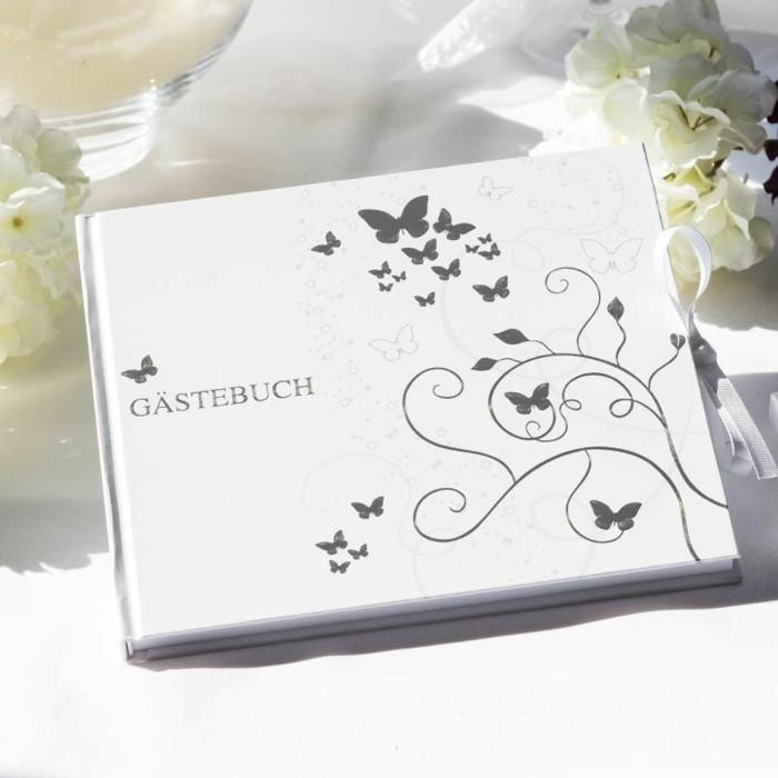 Tischdeko Silberhochzeit Von Meine Hochzeitdeko Gästebuch Schmetterling