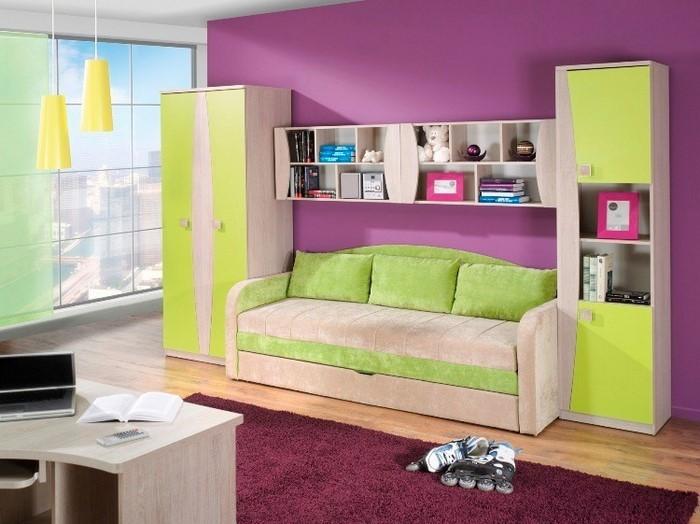 wand streichen ideen streifen horizontal bunte farben flur. Black Bedroom Furniture Sets. Home Design Ideas