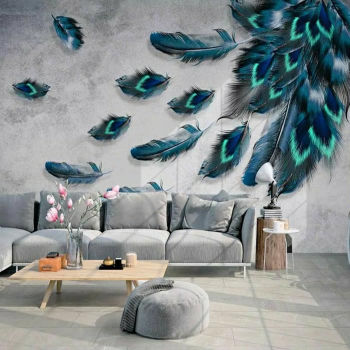 Wandgemälde, großes Wohnzimmer, Einrichtungsideen Wohnzimmer, optische Illusion, großes Sofa