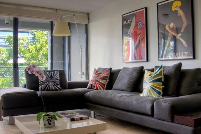 Wandfarben Ideen Wohnzimmer Lila Moderne Frs