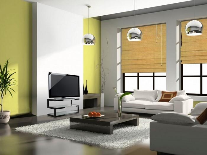 modernes wohnzimmer mit grner wandgestaltung und interessantem ... - Wohnzimmer Farben 2015