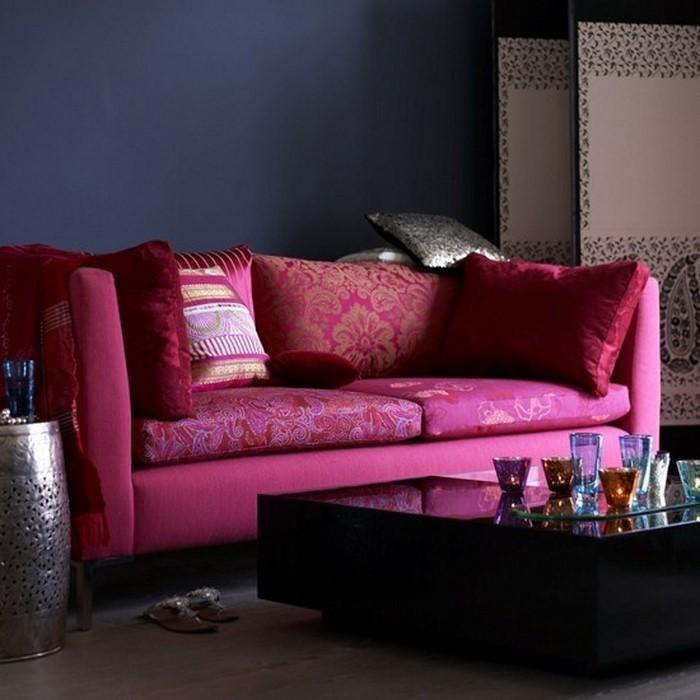 wohnzimmer gestalten rosa:Wohnzimmer Farben: Indigo und rosa Wohnzimmer