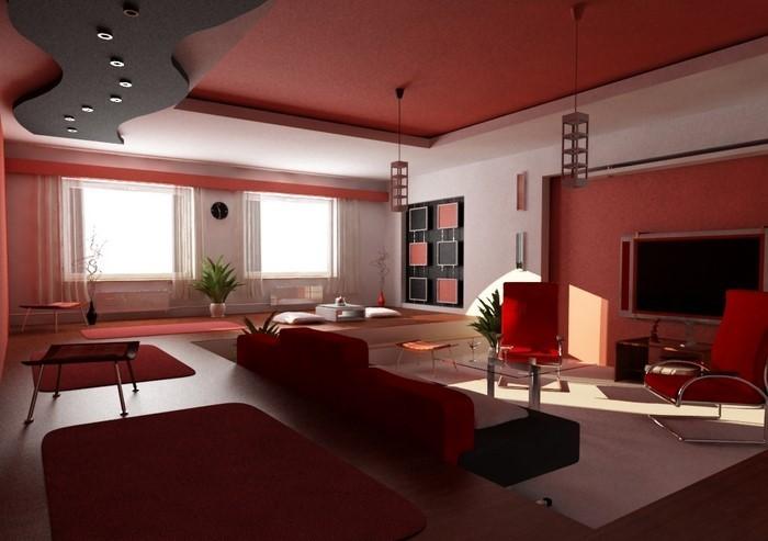 Wohnzimmer-Farben-kreatives-Design