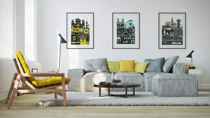 Wohnzimmer-Ideen-mit-Gelb-Ein-cooles-Design