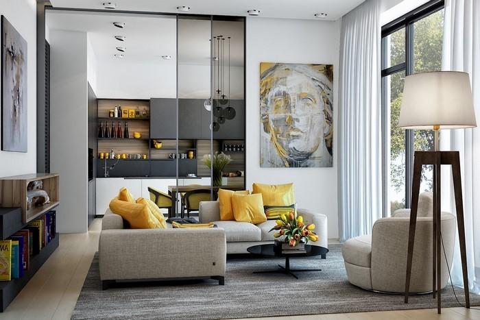 Wohnzimmer-Ideen-mit-Gelb-Ein-modernes-Interieur