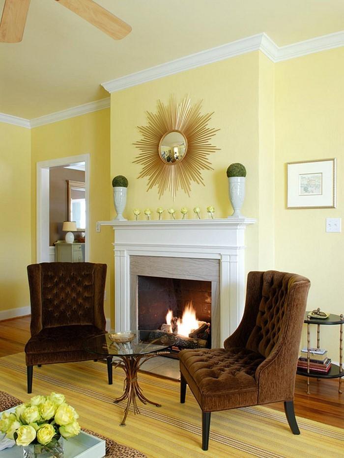 Wohnzimmer Ideen Moderne Gelbe Nuance In Kombination Mit Hellen