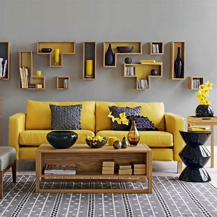 Wohnzimmer-Ideen-mit-Gelb-Eine-auffällige-Ausstattung