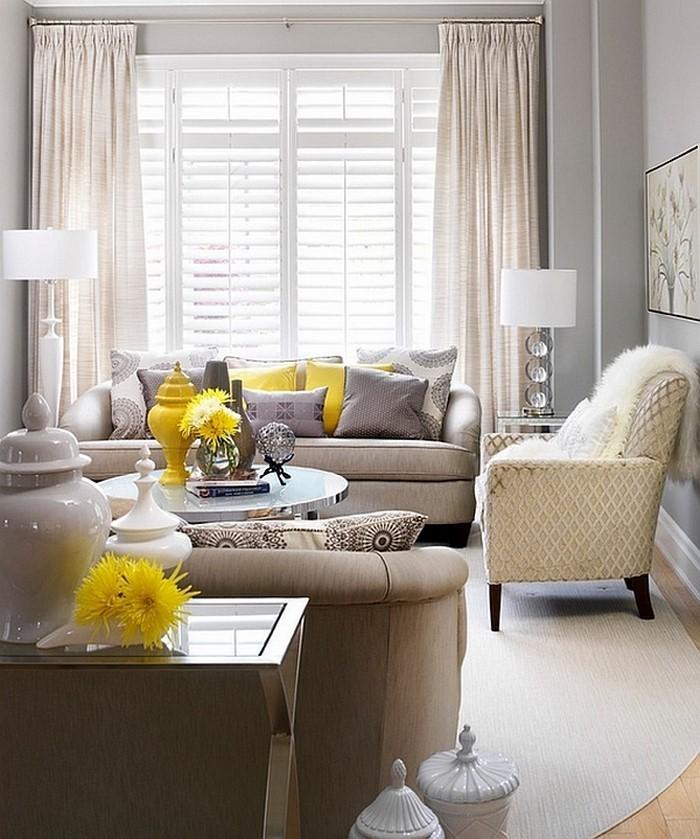 wohnzimmer grau gelb:Wohnzimmer-Ideen-mit-Gelb-Eine-auffällige-Dekoration