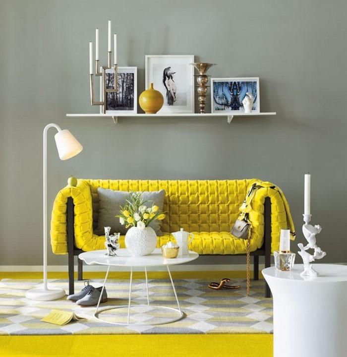 Wandfarben Zu Weißen Möbeln: 100 Verblüffende Wohnzimmer Ideen Mit Gelb