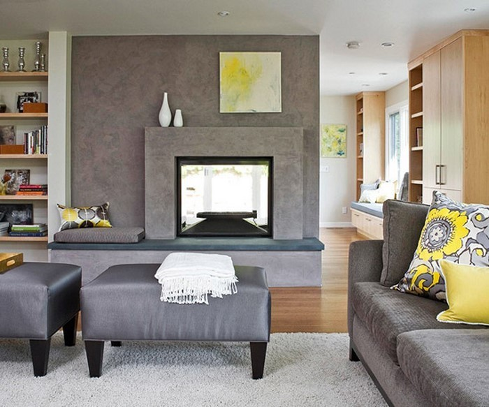 wohnzimmer grau gelb:Hellgraue Wände als Kulisse für die grauen Möbel