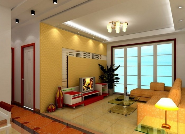 wohnzimmer gelb grun