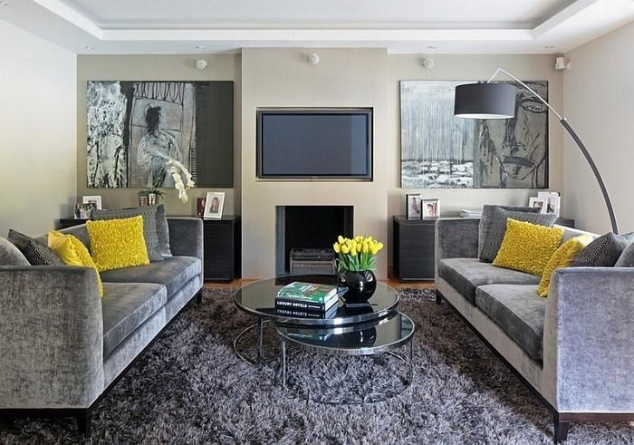 Wohnzimmer Ideen Mit Gelb Eine Verblffende Dekoration