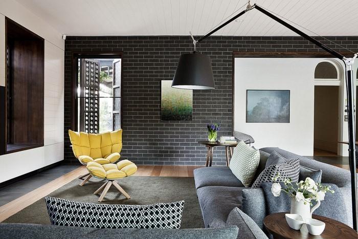 Kleines Wohnzimmer Essecke Beige Braun Afrika Wanddeko Beleuchtung ... Wohnzimmer Braun Gelb