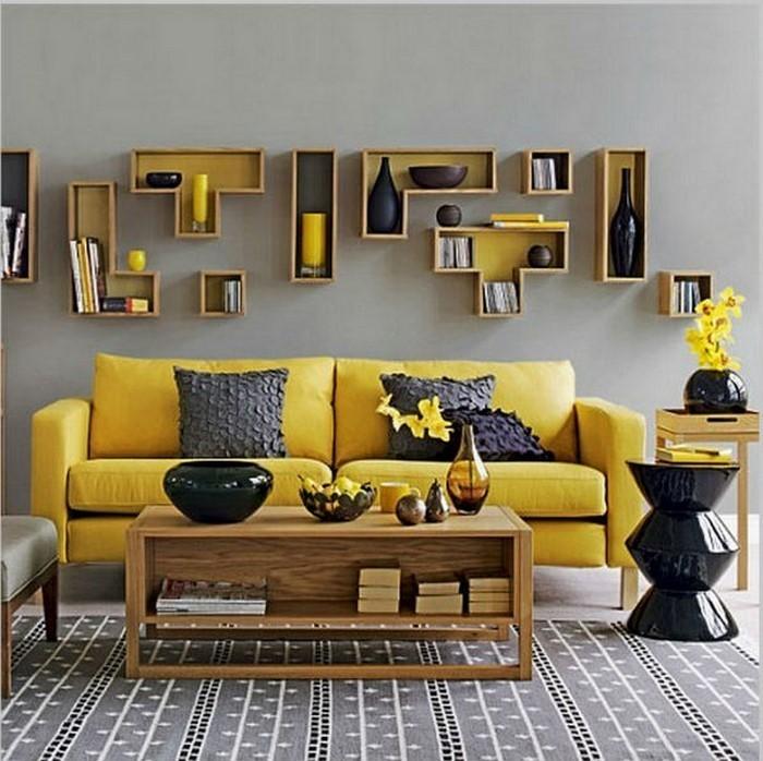 Wohnzimmer gelb schwarz  100 verblüffende Wohnzimmer Ideen mit Gelb