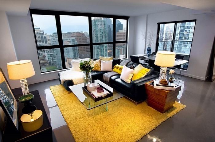 Wohnzimmer-Ideen-mit-Gelb-außergewöhnliche-Gestaltung