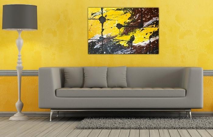 Wohnzimmer-Ideen-mit-Gelb-außergewöhnliches-Design