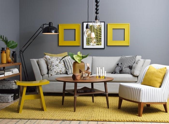 Wohnzimmer-Ideen-mit-Gelb-auffällige-Entscheidung