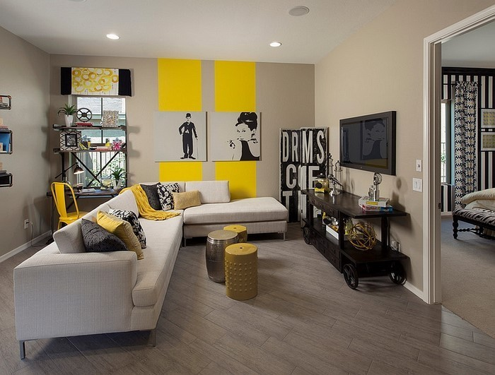 Wohnzimmer-Ideen-mit-Gelb-auffällige-Gestaltung
