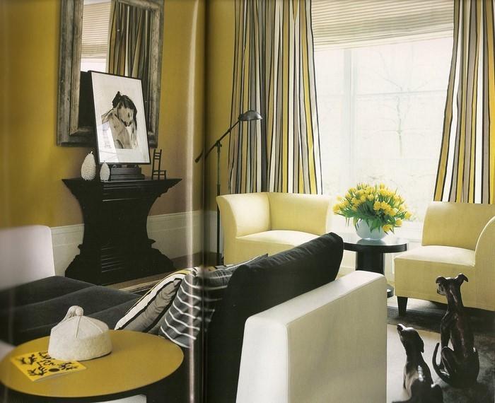 Wohnzimmer-Ideen-mit-Gelb-auffälliges-Design