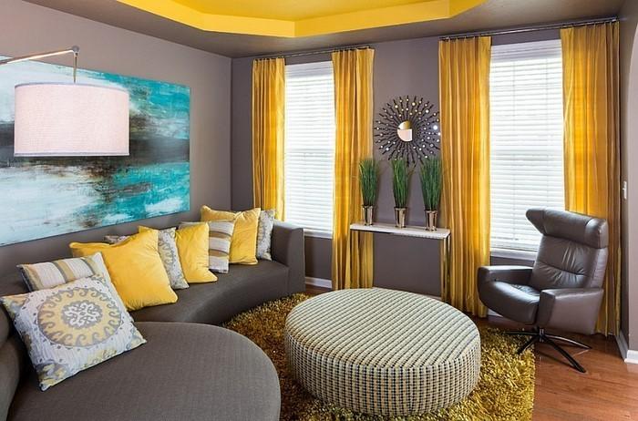 Wohnzimmer-Ideen-mit-Gelb-moderne-Gestaltung