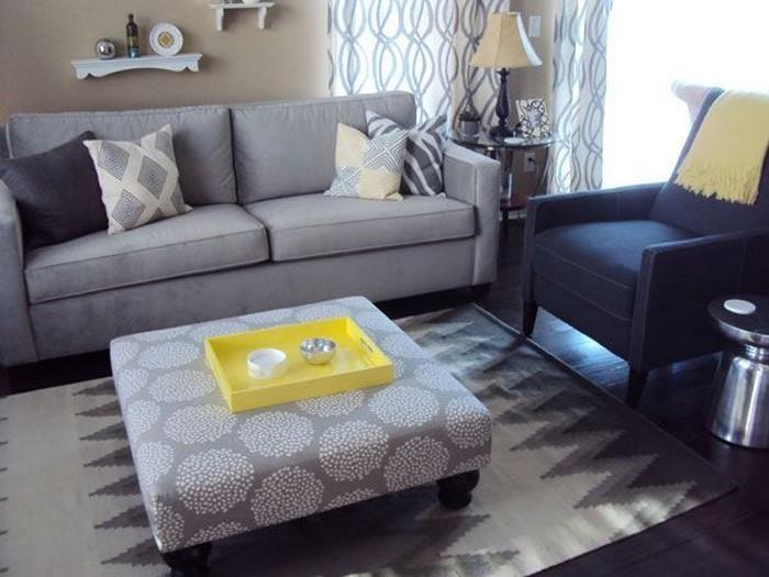 Wohnzimmer-Ideen-mit-Gelb-modernes-Design