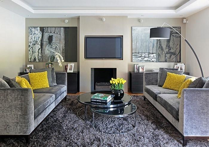 Wohnzimmer-Ideen-mit-Gelb-tolles-Design