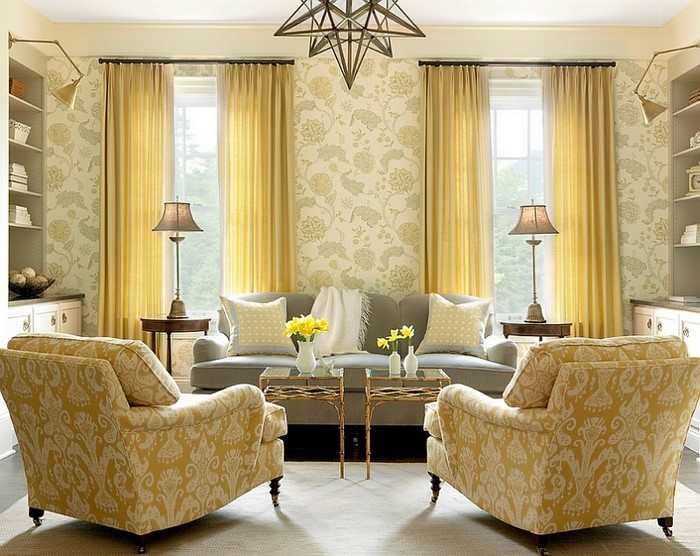 Wohnzimmer-Ideen-mit-Gelb-verblüffende-Gestaltung