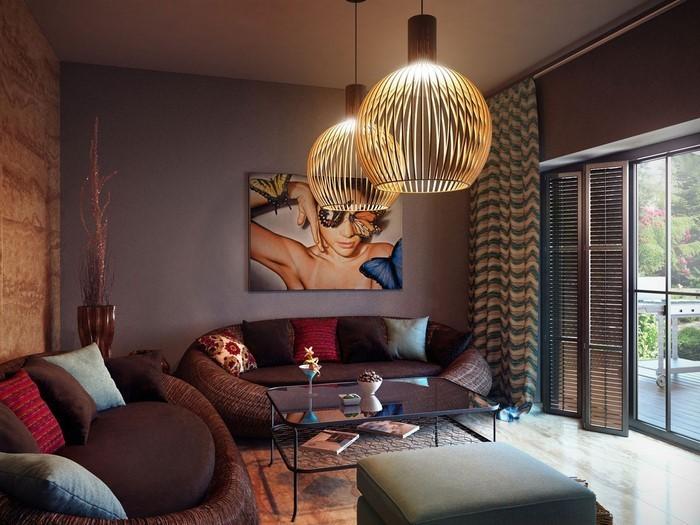 Wohnzimmer-in-braun-Ein-außergewöhnliches-Interieur
