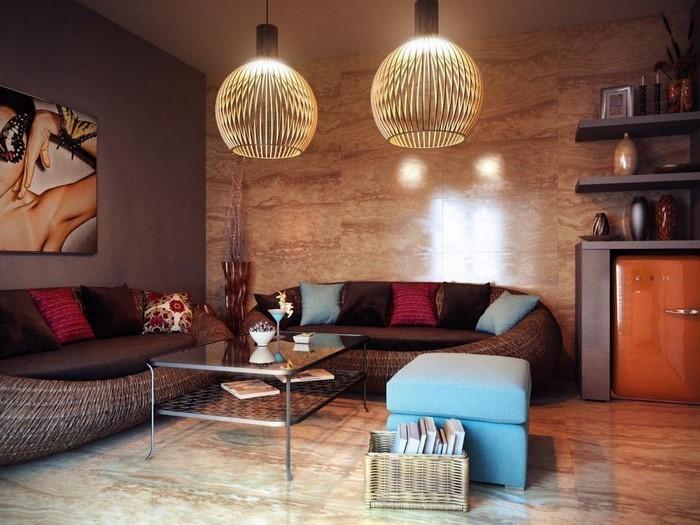 Wohnzimmer-in-braun-Ein-auffälliges-Design