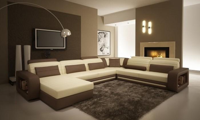 Wohnzimmer Mit Brauner Couch