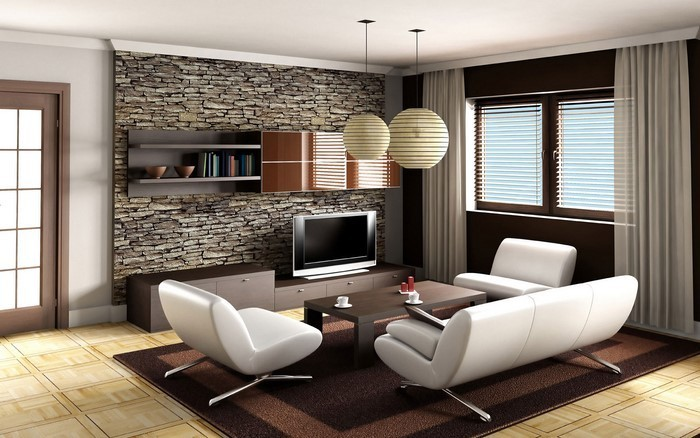 Wohnzimmer-in-braun-Eine-außergewöhnliche-Gestaltung