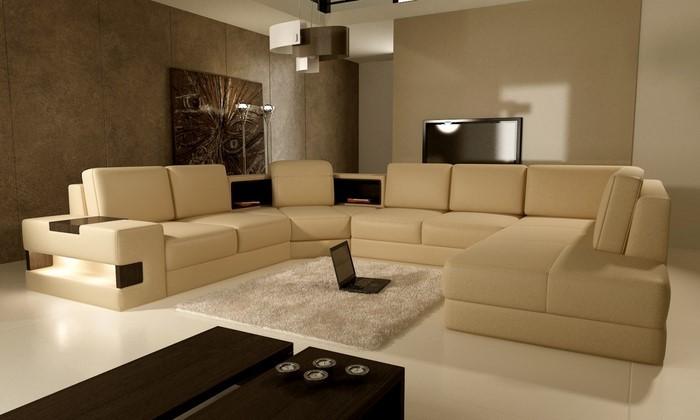 Wohnzimmer-in-braun-Eine-auffällige-Ausstattung