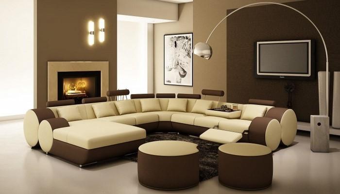 Wohnzimmer-in-braun-Eine-auffällige-Gestaltung