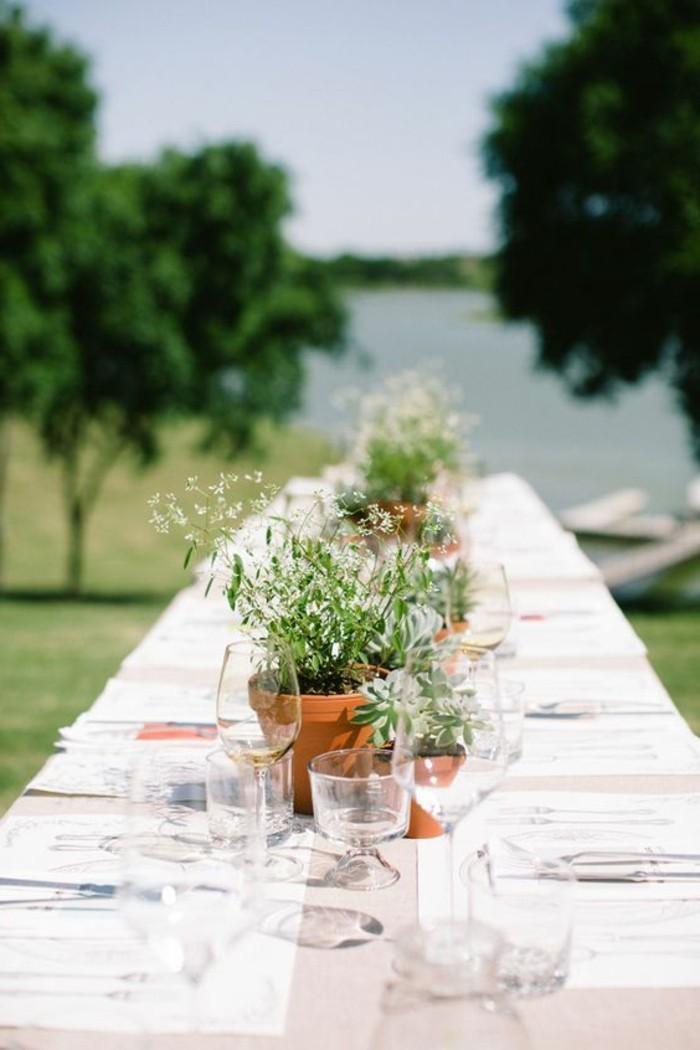 ausgefallene-Tischdeko-mit-einigen-Blumentöpfe